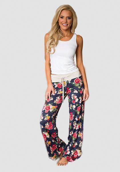 Relaxed Loose Baggy Floral Printed Pants-Long Leggings-2UBest.com-Blue / Red-S-2UBest.com