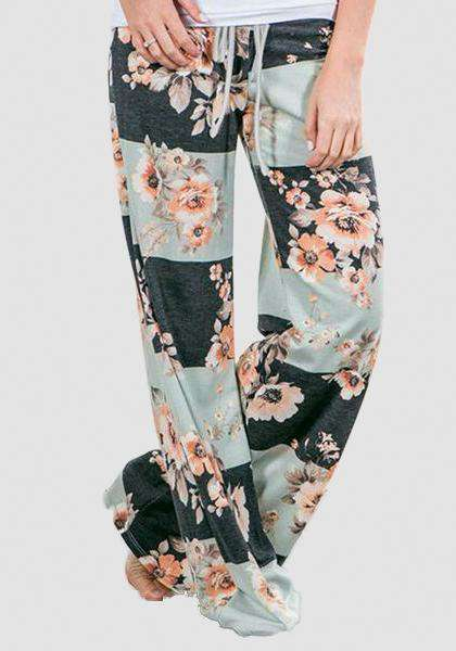 Relaxed Loose Baggy Floral Printed Pants-Long Leggings-2UBest.com-Белый / Черный -S-2UBest.com