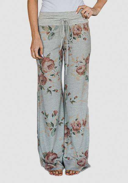 Relaxed Loose Baggy Floral Printed Pants-Long Leggings-2UBest.com-Светло-серый / Красный-S-2UBest.com