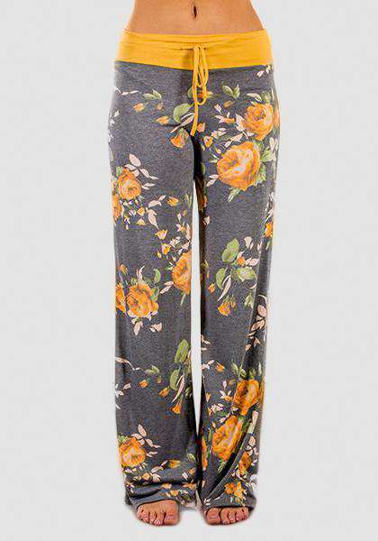 Relaxed Loose Baggy Floral Printed Pants-Long Leggings-2UBest.com-Серый / Желтый-S-2UBest.com