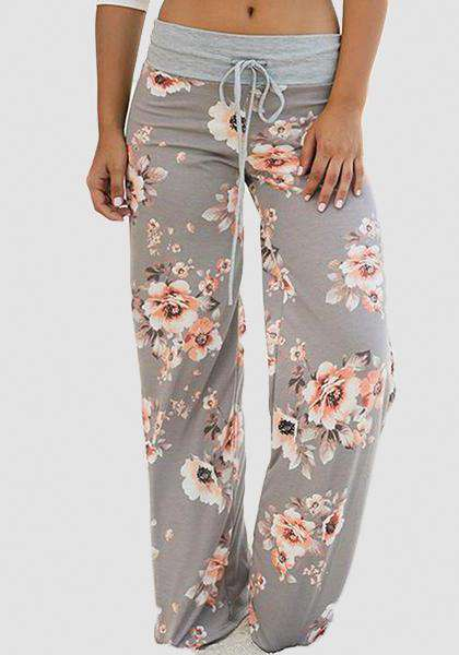 Relaxed Loose Baggy Floral Printed Pants-Long Leggings-2UBest.com-Light Grey-S-2UBest.com