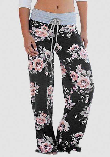 Relaxed Loose Baggy Floral Printed Pants-Long Leggings-2UBest.com-Черный / Розовый-S-2UBest.com
