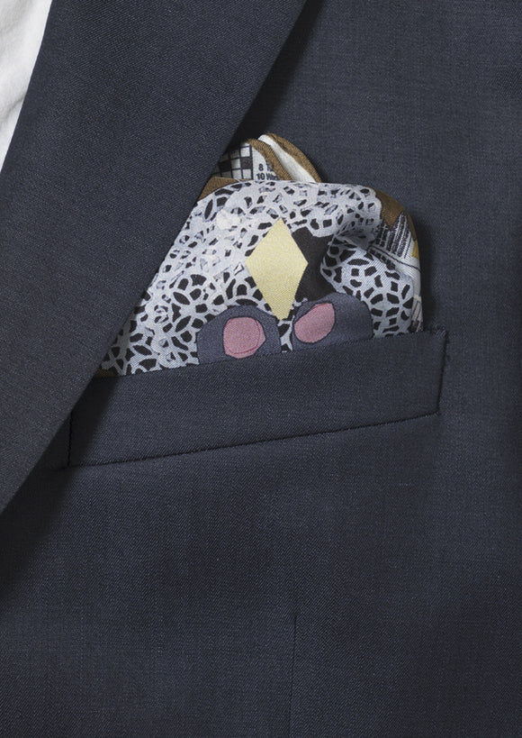 owls on a tobacco silk, men's pocket square