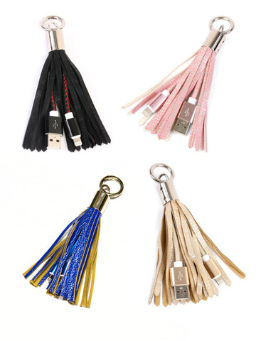 The Blue Rose Ky-Tassel Charging Key Chain-Iphone-Ipad-Charger-Cable-Cord-Key-Chain-Tassels-Stylish-Accessories