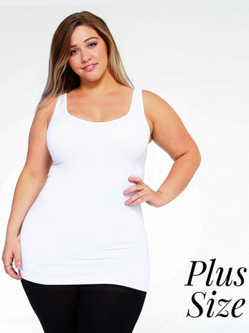 Seamless Plus Size Tank Top-One Size-16-22-Fits most-White-Black-Ivory-Navy-Gray-Rounded Neckline-Hip Length-Nylon-Spandex-Oversize-Camisole-Mini Dress-Body Contouring-Figure Hugging-Solid Colors-Stretchy-Super Soft