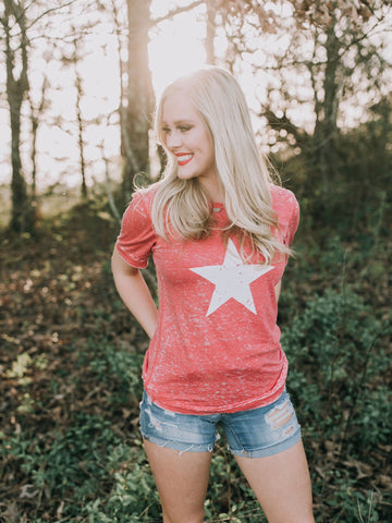 Americana-4th of July-Star-Acid Wash-Red-Celebration-Summer-Apparel-T-shirt-Graphic Tee