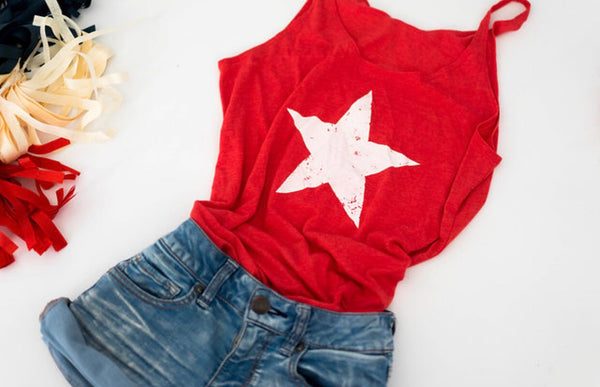 Americana-Fourth of July-Tank-Slouchy Fit Tank-Bella Canvas-4th-Summer-Red-Apparel-Tank Top-Star-Memorial Day-Patriotic-American Flag Tank-July-Red White and Blue-Summer Fun-Celebration-USA-Tank Tops for Women
