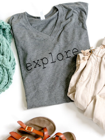 Explore-Fall-Adventure-Graphic Tee-Apparel-Vneck-Womens-Mens-Unisex-fit-Mountains-Travel-Nature-Explore