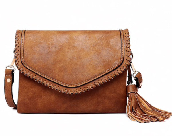 Crossbody Envelope Purse-Whipstitch Tassel Bag