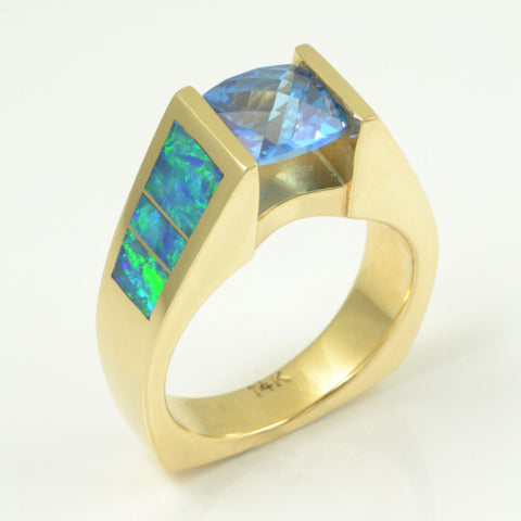 Topaz and Australian opal ring by Hileman