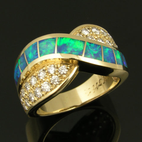 Woman's Diamond and Australian Opal Ring by The Hileman Collection