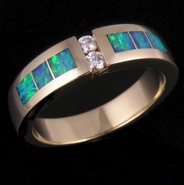 Man's Diamond and Australian Opal Wedding Ring by The Hileman Collection