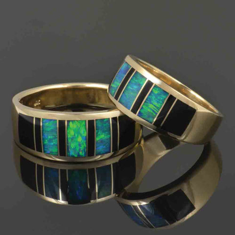 Black onyx and Australian opal wedding ring set in 14k gold.  Matching his and hers opal wedding bands by The Hileman Collection.