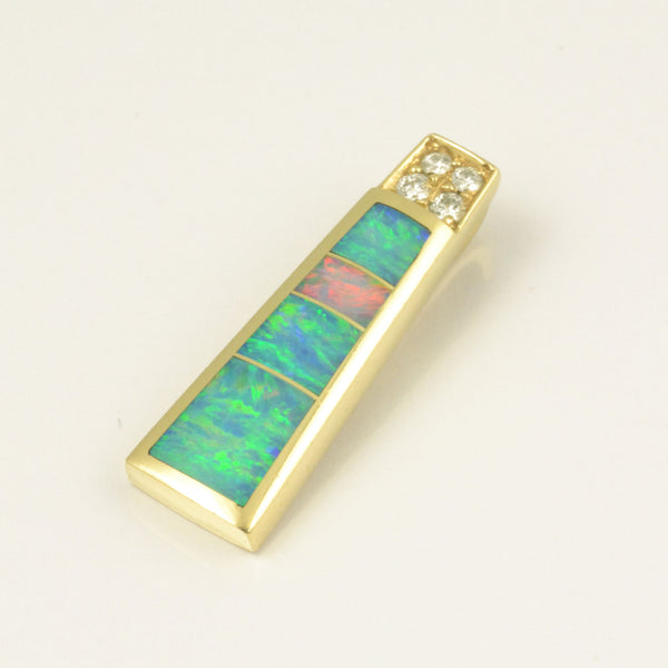 Diamond and opal inlay pendant in 14k gold