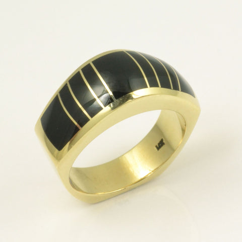 Black onyx inlay ring in 14k gold