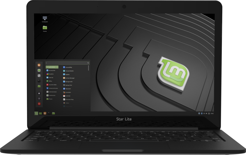 Star Lite Mk II Linux laptop with ARC display computer open running pre-installed Linux Mint
