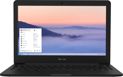 Star Lite Mk II Linux laptop with ARC display computer open running pre-installed Zorin OS 15 Core