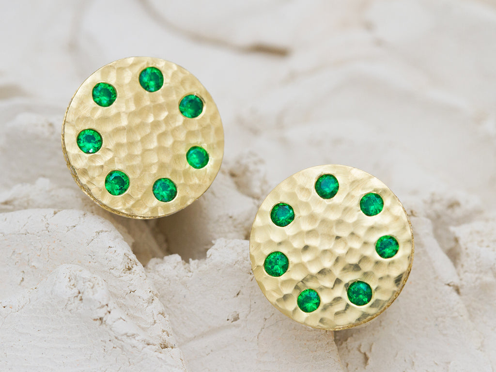Sundial Tsavorite Stud Earrings with Diamond Micropavé