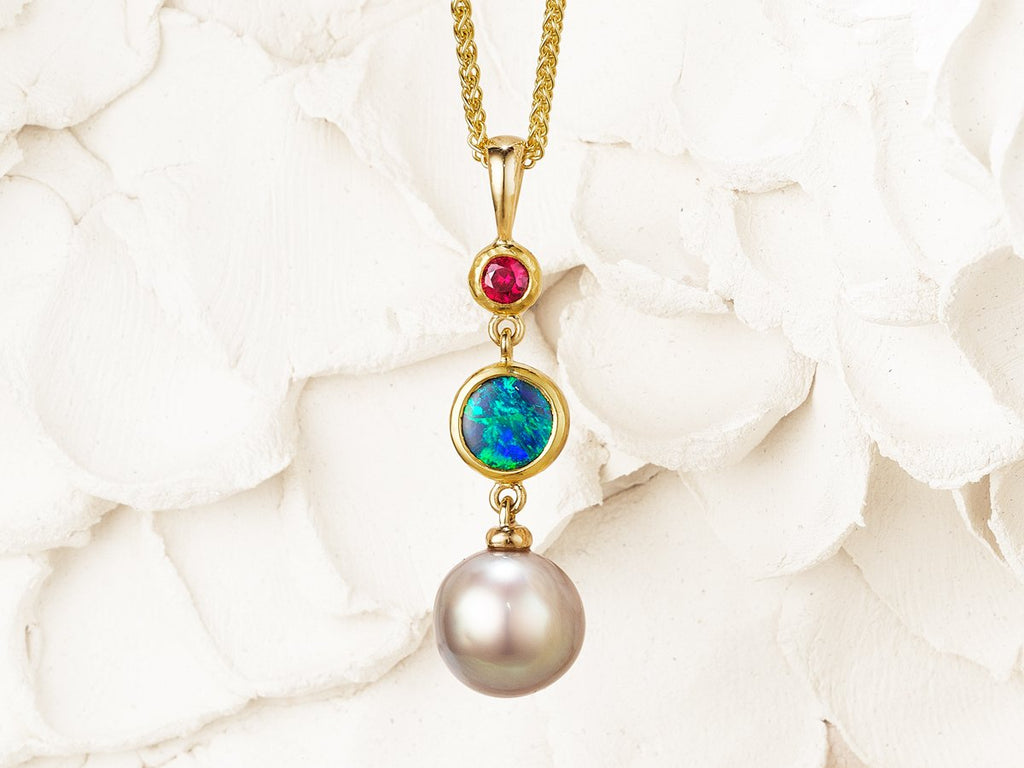 Amici Pendant - Opal, Pearl and Ruby