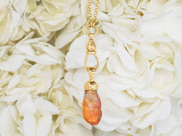 Fire Opal and 18 Karat Gold Pendant Necklace