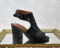 Jellypop black leather open booties