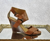 Nine West brown leather wedges