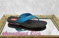 Okabashi teal and brown sport flip flops