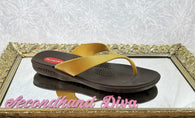 Okabashi gold and brown sport flip flops