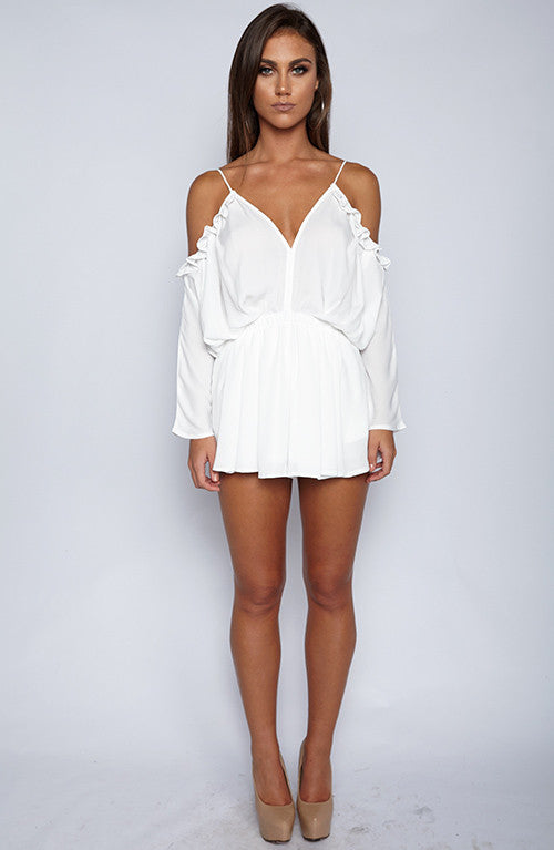 Faith Heart Playsuit - White
