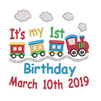Birthday train template machine embroidery design by rosiedayembroidery.com
