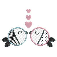 Kissing fish applique machine embroidery design by rosiedayembroidery.com