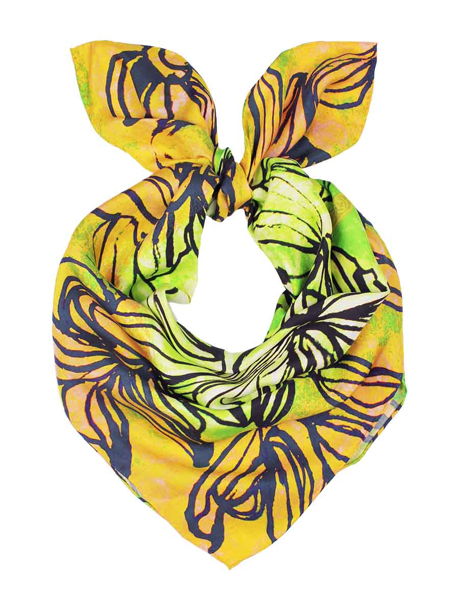 The Swirl Square Silk Scarf - Daisy