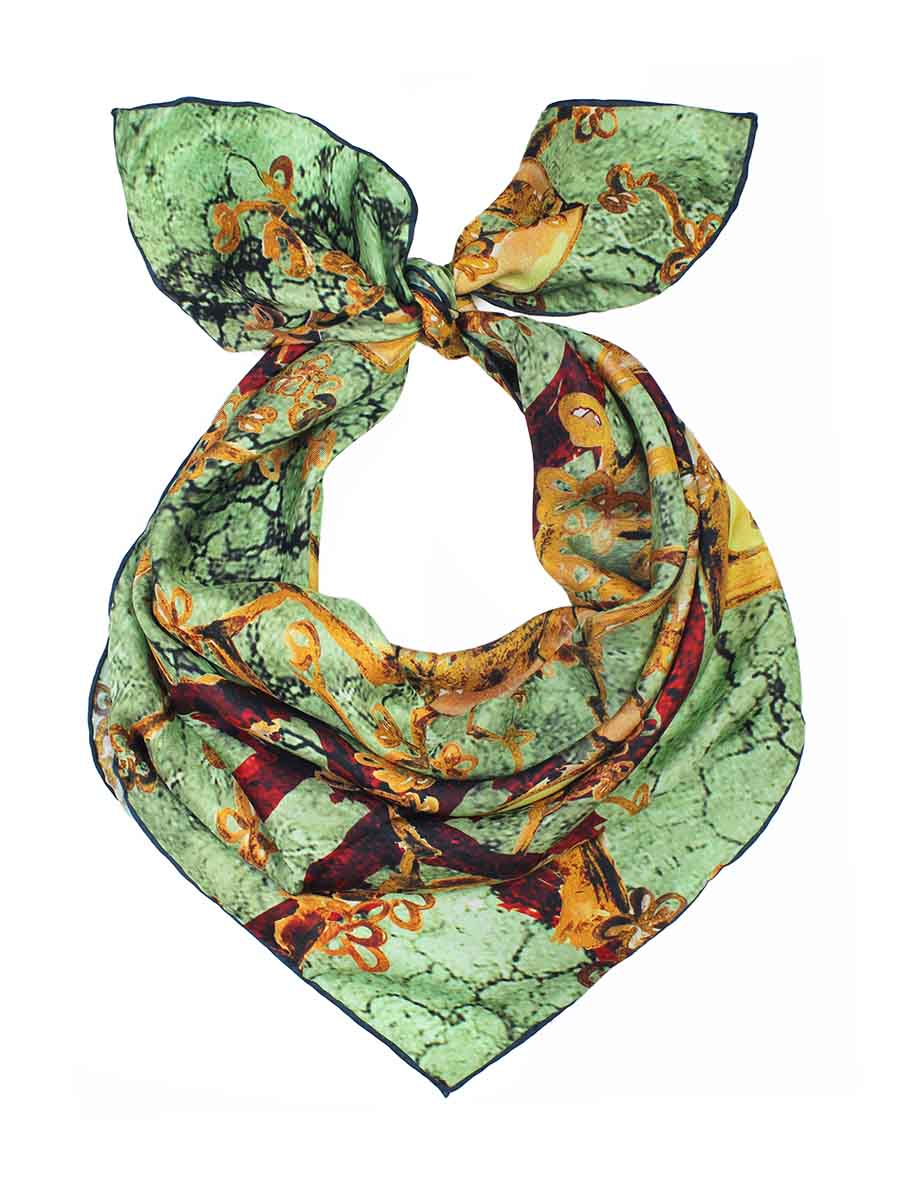 The Window Square Silk Scarf - Earthy Botanic