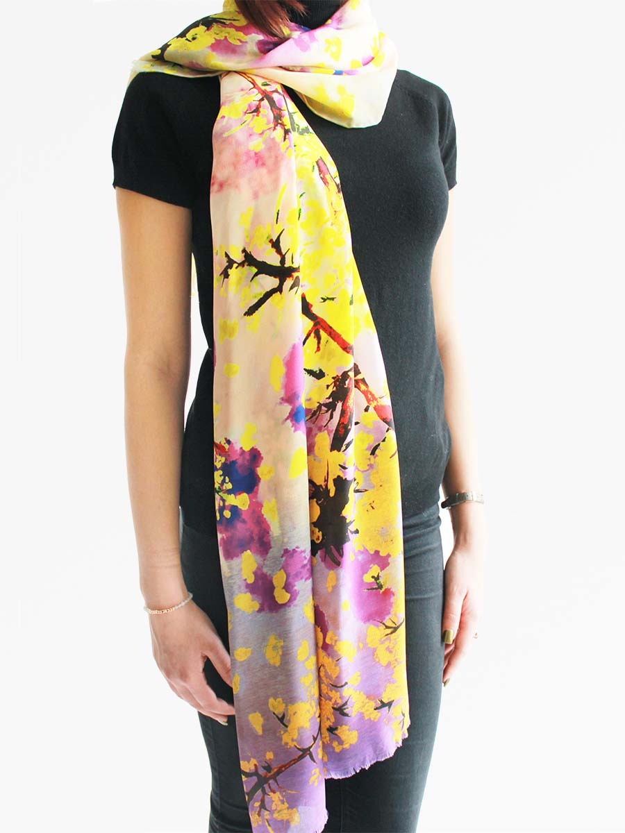 The Whisper Long Silk scarf  - Yellow