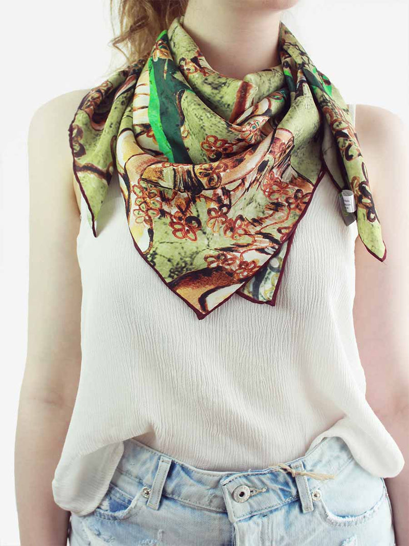 The Window Square Silk Scarf - Earthy Sand
