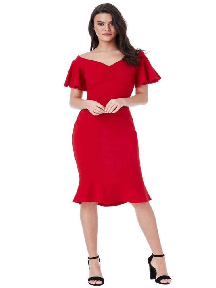 CHAKRA OFF THE SHOULDER MIDI DRESS WITH RUFFLE SLEEVES RED