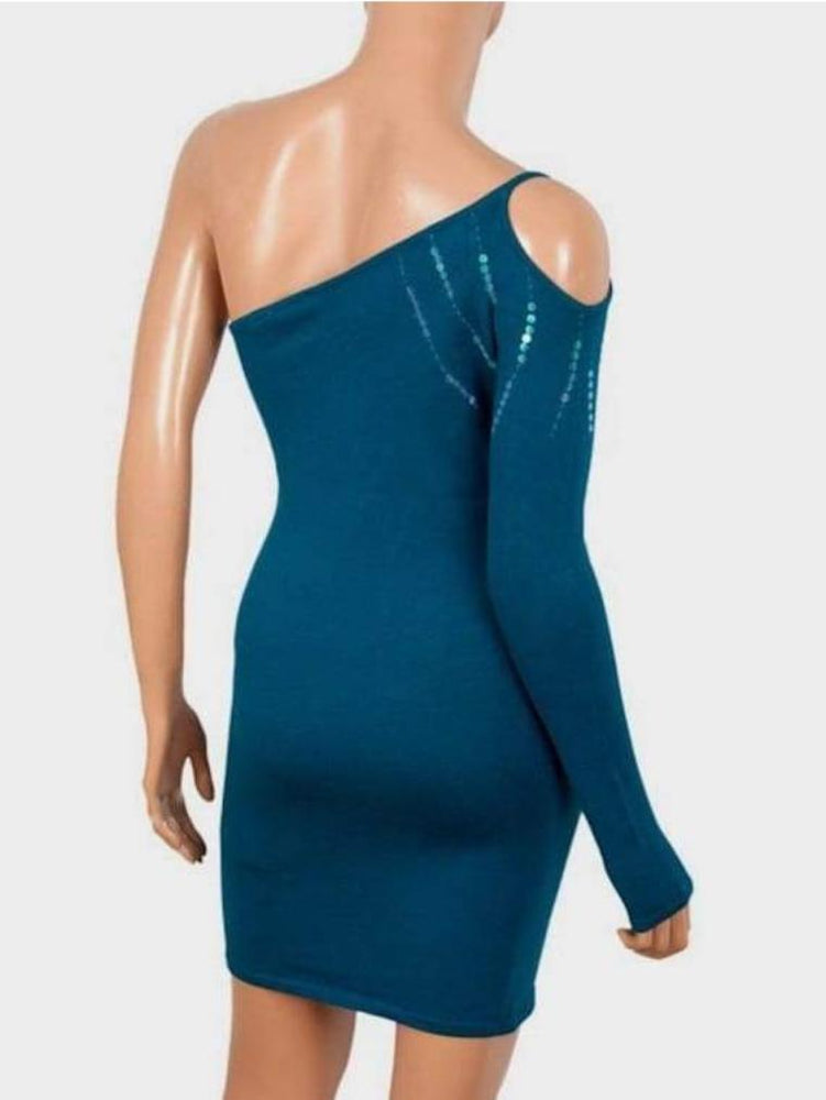B-SOUL LADIES ONE SHOULDER DRESS CERULEAN - Fashion Trendz