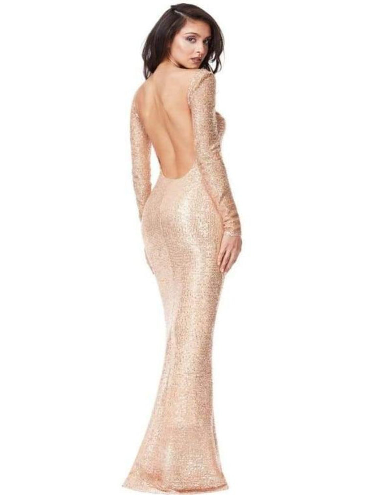 BLUEBELL OPEN BACK SEQUIN FISHTAIL MAXI DRESS - Fashion Trendz
