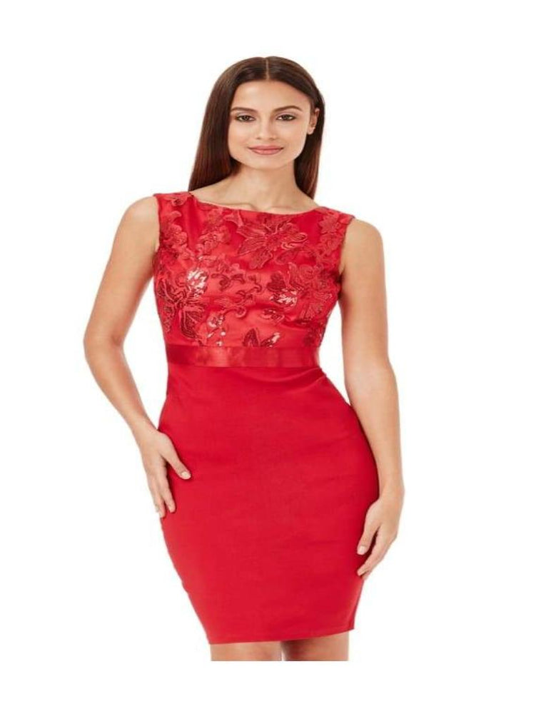 BRONTE SEQUIN EMBELLISHED MIDI DRESS RED