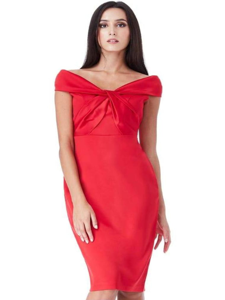 CANTRELLE DOUBLE SATIN BARDOT MIDI DRESS WITH TWISTED NECKLINE RED