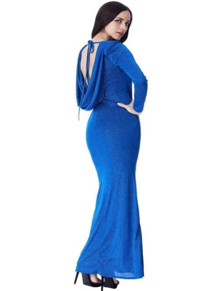 CASILDA GLITTER COWL BACK MAXI DRESS WITH SLEEVES ROYAL BLUE - Fashion Trendz