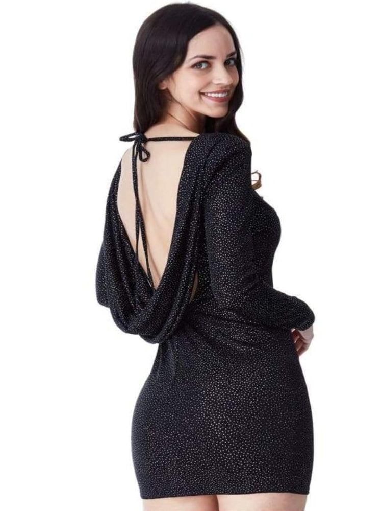 CASILDA GLITTER COWL BACK MINI DRESS WITH SLEEVES BLACK - Fashion Trendz