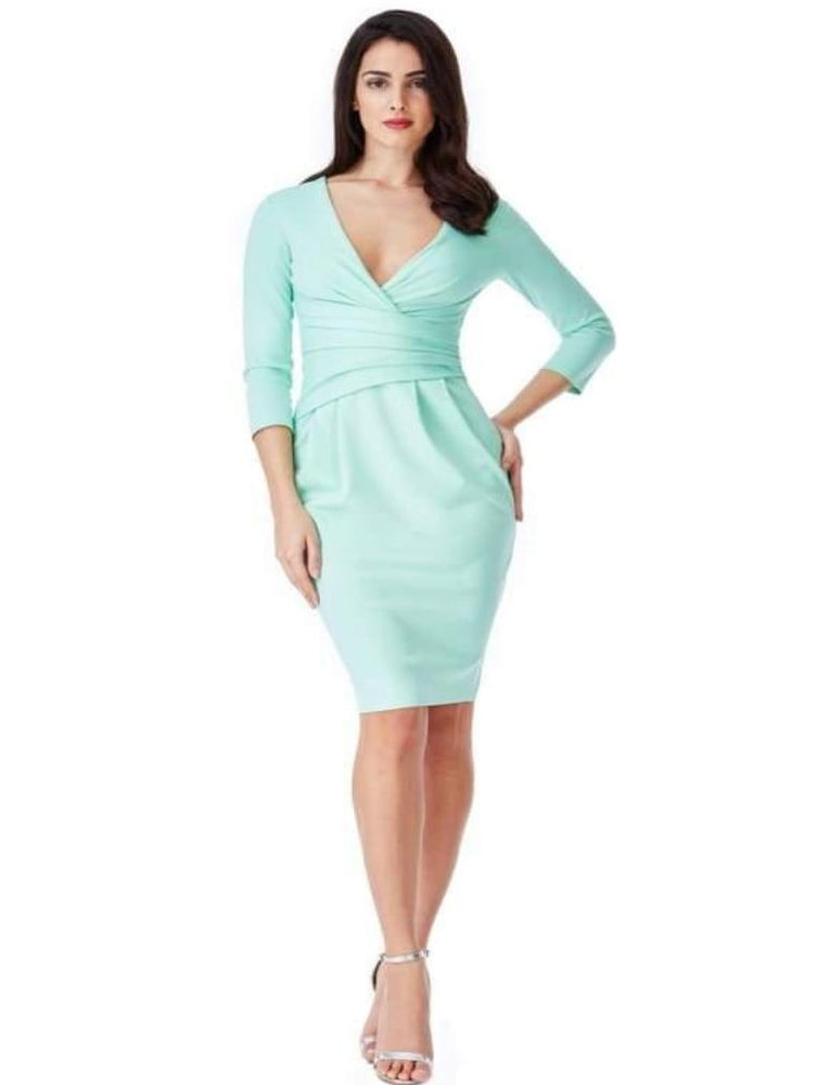 CELA FITTED PLEATED MIDI DRESS MINT