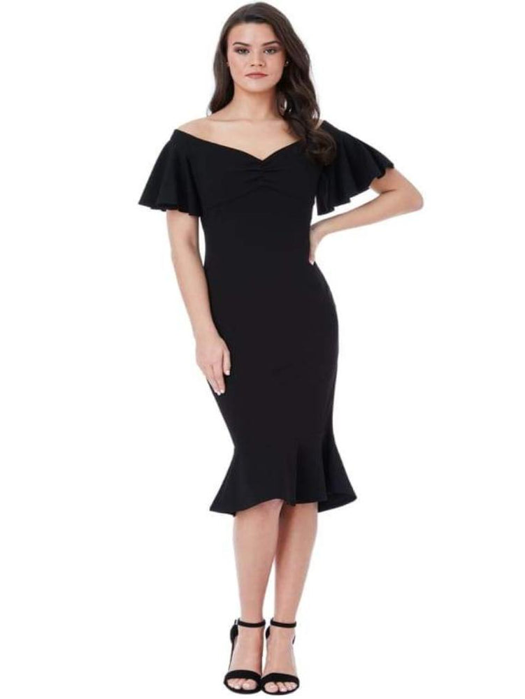 CHAKRA OFF THE SHOULDER MIDI DRESS WITH RUFFLE SLEEVES BLACK