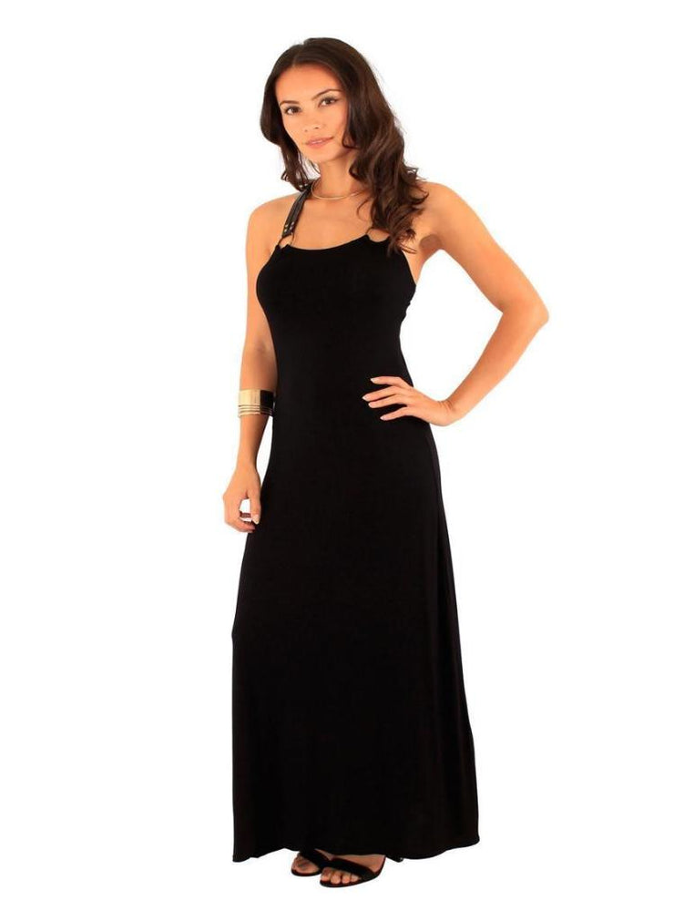 DERYA BUCKLE TRIM BACK MAXI DRESS BLACK