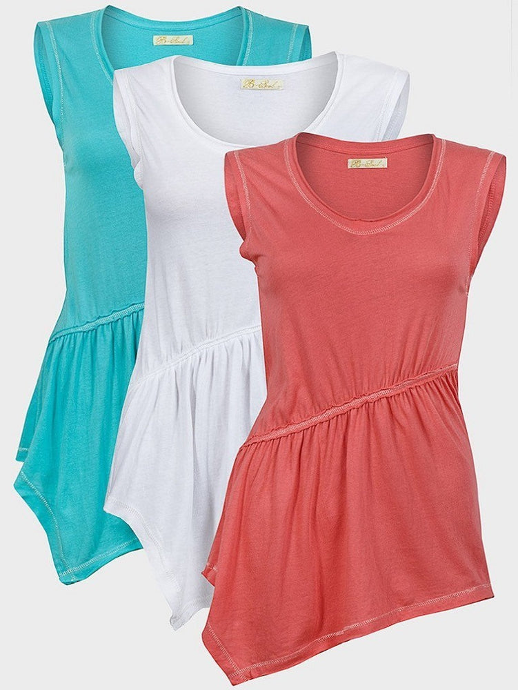 BRAVE SOUL LADIES SLEEVELESS TOP CYAN - Fashion Trendz