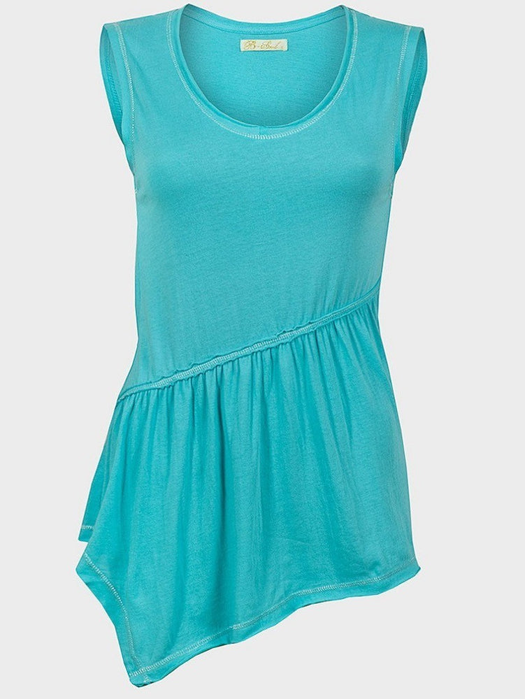 BRAVE SOUL LADIES SLEEVELESS TOP CYAN