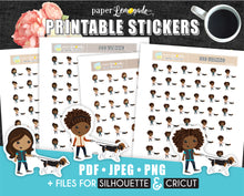 Printable Stickers Dog Walking stickers various skin and hair PR-214