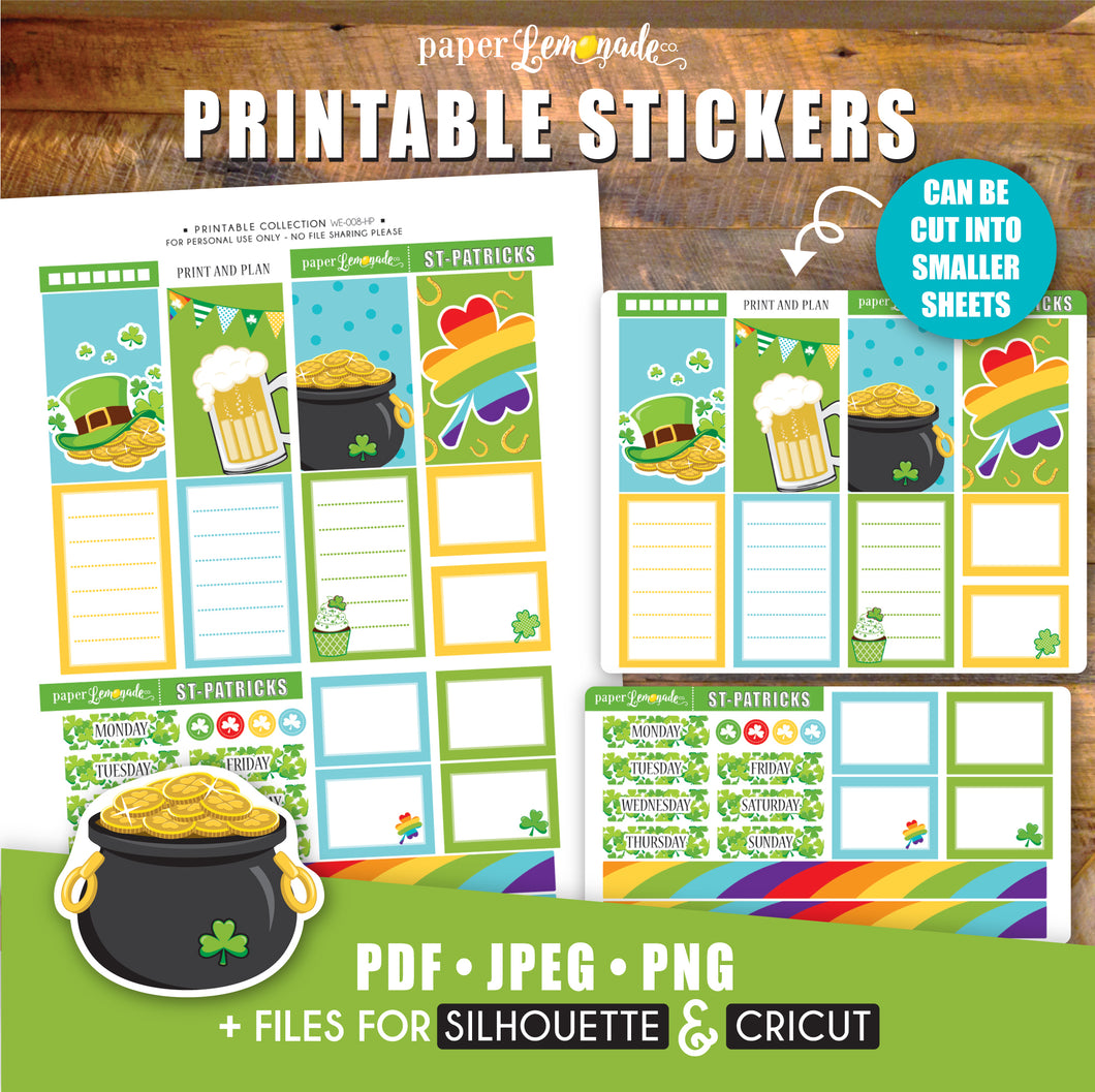 St-Patrick Printable Stickers - HP Sheet