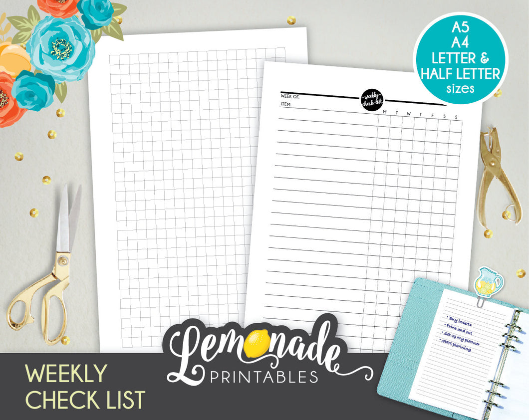 Weekly Checklist Printable Planner Insert A5 A4 Letter and Half Letter